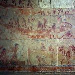 Hrobka úředníka TY - malba hrobky představuje stavbu lodí