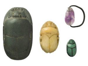Vruboun z Ruru - 18. až 20.dynastie (cca. 1550–1070 př.n.l.) z tmavozeleného kamene; dva menší - Období úpadku (cca. 688–30 př.n.l.) z alabastru; Vrubounovitý prsten - 12.dynastie (cca. 1981–1802 př.n.l.); ametyst, měd´