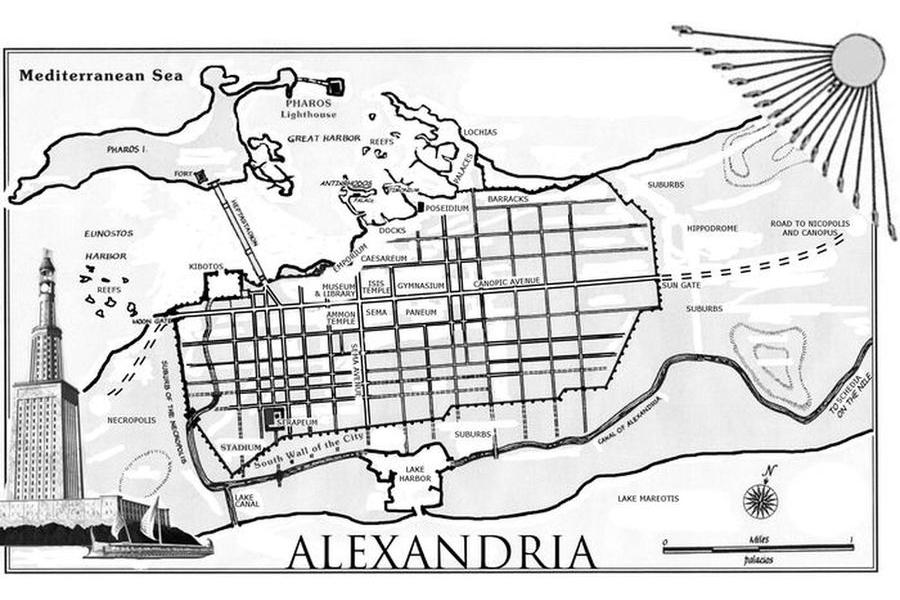 Alexandrie - starověká mapa