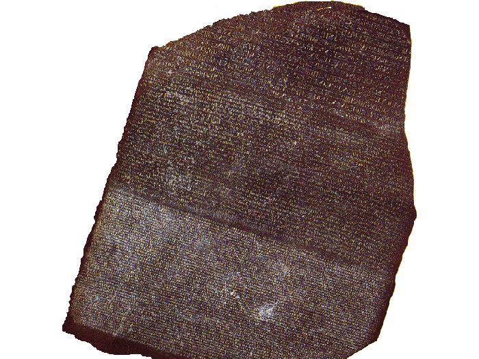 Rosettská deska se stejným textem v řečtině, démotštině a hieroglyfech.