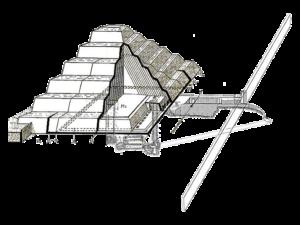 Řez pyramidou a plán, jak pravděpodobně pyramida vznikala.