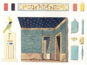 """Barevná rekonstrukce jedné z """"modrých komnat"""" v podzemí Džoserovy pyramidy."""
