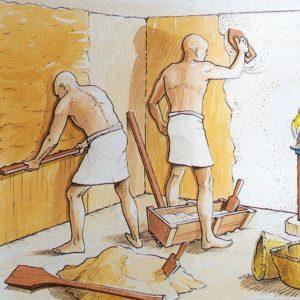 V dílně vyrobenou směs (muna) nanáší na stěny, aby vyrovnal jejich povrch stěn. Nanáší se vrstva asi 4cm silná. Aby byly stěny hladké, nanese ještě vrstvu sádry nebo štuku o síle 3cm.