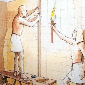 V dílně si malíř připraví malbu a přes ní nakreslí čtvercovou síť. Tu pak musí narýsovat také na stěny.