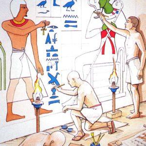 Podle nákresu pak začíná malovat – život zemřelého se odvíjí v několika pásech jako komiks.