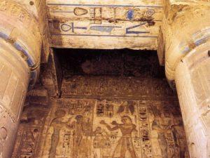 Chrám Ramesse III. v Medínit Habu – detail výzdoby.