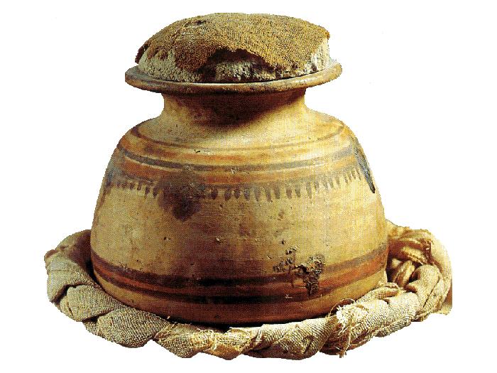 Oblininy a len - keramická nádoba pro ukládání obilnin byla nalezena v Dér el-Medíně.