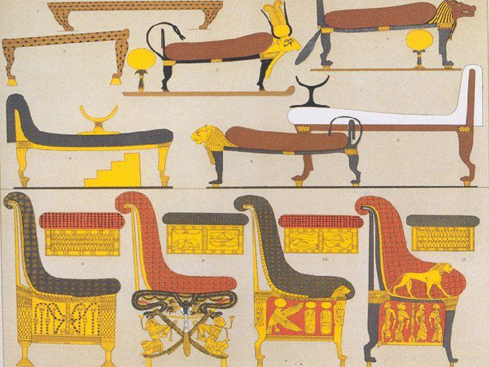 Katalog egyptského nábytku sestavený Racinetem v roce 1888