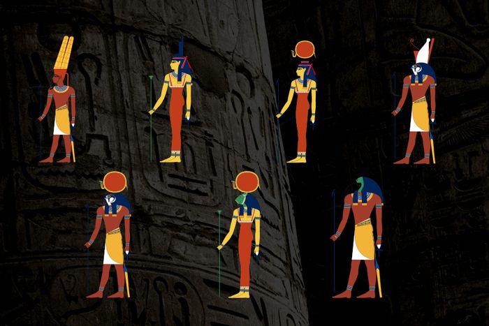 Egyptští bohové - Amon, Eset, Hathor a Horus (nahoře), Re, Sachet a Thovt (dole)