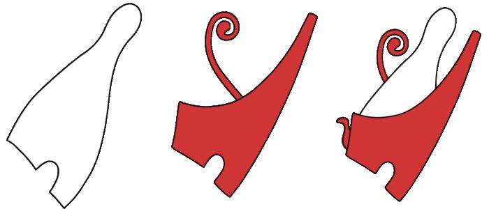 Koruny faraonů - bílá koruna Horního Egypta (hedzet), červená koruna Dolního Egypta (deshre) a koruna Obou zemí
