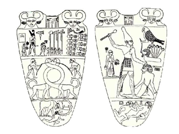 Narmerova paleta - na jedné straně je vyobrazen sám Narmer