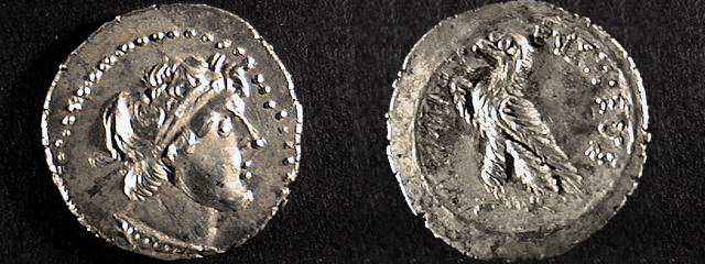 Rub a líc mince Ptolemaia VIII.