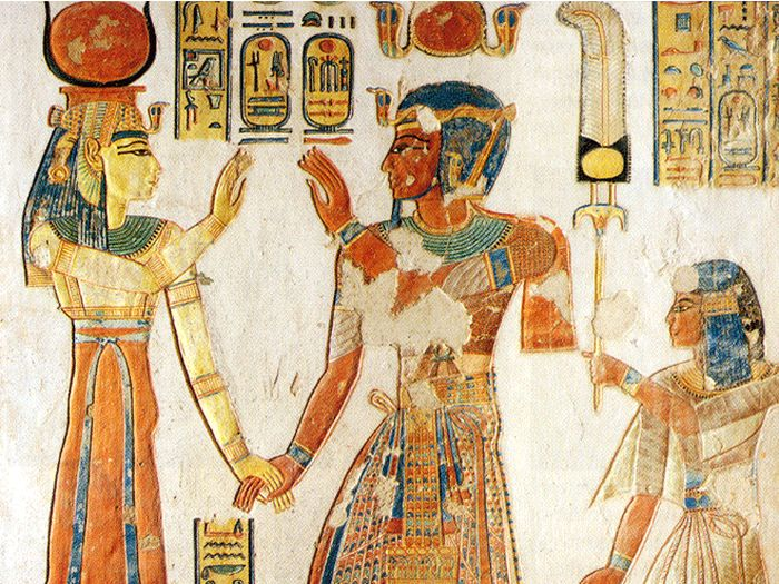 Hathor přijíma Ramesse III. a Amonhirchepešefa