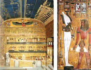 Vlevo jižní strana dolní části pohřební komory, vpravo pak Sethi I. s Usirem vyobrazen na jednom z pilířů