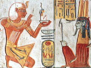 Detail z pilíře v pohřební komoře – Ramesse VI. obětuje sošku bohyně Maat Amenreovi