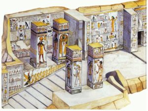 Kresba na pravé stěně komory se šachtou a pilířové síně