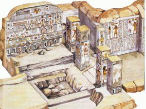 Kresba severní strany pohřební komory