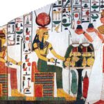Pravá stěna schodiště (zleva Maat, Selket, Hathor a Nefertari)