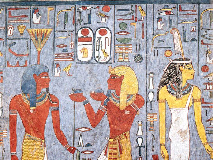 Ukázka výzdoby z pohřební komory hrobky faraona Ramesse I. KV 16