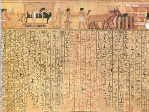 """Kniha mrtvých zahrnuje ilustrace závěrečného procesí mumifikovaného těla k hrobce a poslední rituály před pohřbem – například obřad """"Otevírání úst""""."""