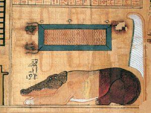 Kniha mrtvých obsahuje jedno z nejstarších vyobrazení šelmy Amematy, kterou tvoří část krokodýla, část lva a část hrocha.
