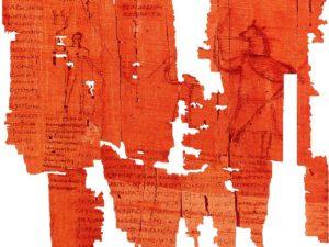 Detail Mimautova papyru se zádušními texty v koptském písmu.