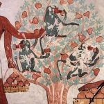 Egyptská hrobka - Kušité přinášející opice