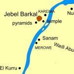 Mapa království kuš představuje dva hlavní body - pohřebiště El Kurru a posvátnou horu Gebel Barkal