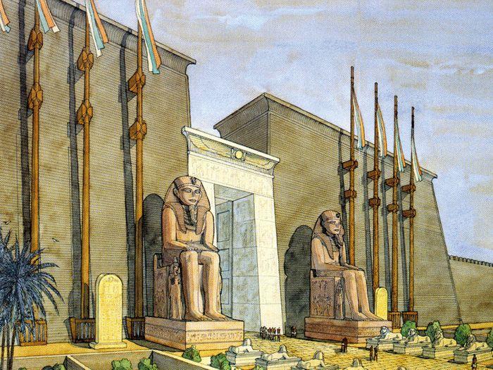 Pravděpodobný vzhled vstupního pylonu chrámu Amenhotepa III., jehož vchod oba kolosy střežily.