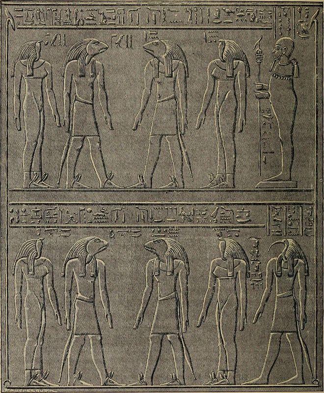 Čtyři páry Osmera bohů s bohy Ptahem (horní registr) a Thovtem (dolní registr). Reliéf z chrámu na Philae