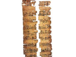 Papyrus z ramessovského období s textem v hieratickém písmu.