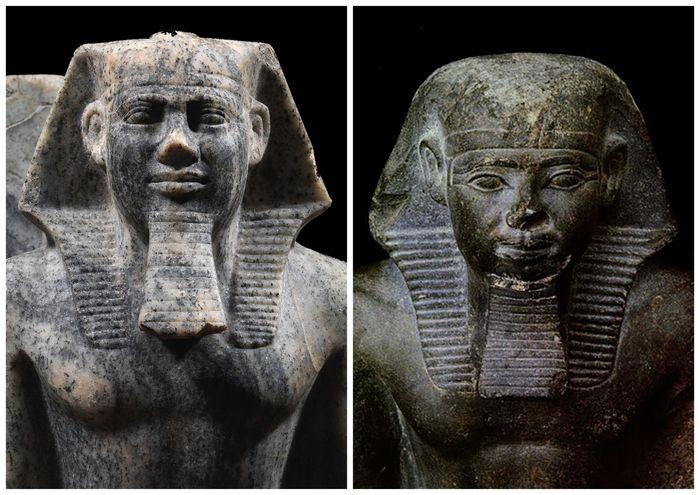 Sahure (vlevo) a Neferirkare (vpravo) jako stavitelé dosud neobjevených slunečních chrámů