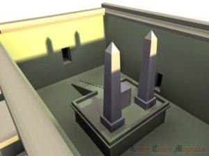 Teoretická rekonstrukce slunečního oltáře v komplexu Slunečního kultu od architekta T. Dziedzida, 3D zpracování – P.Srokowski