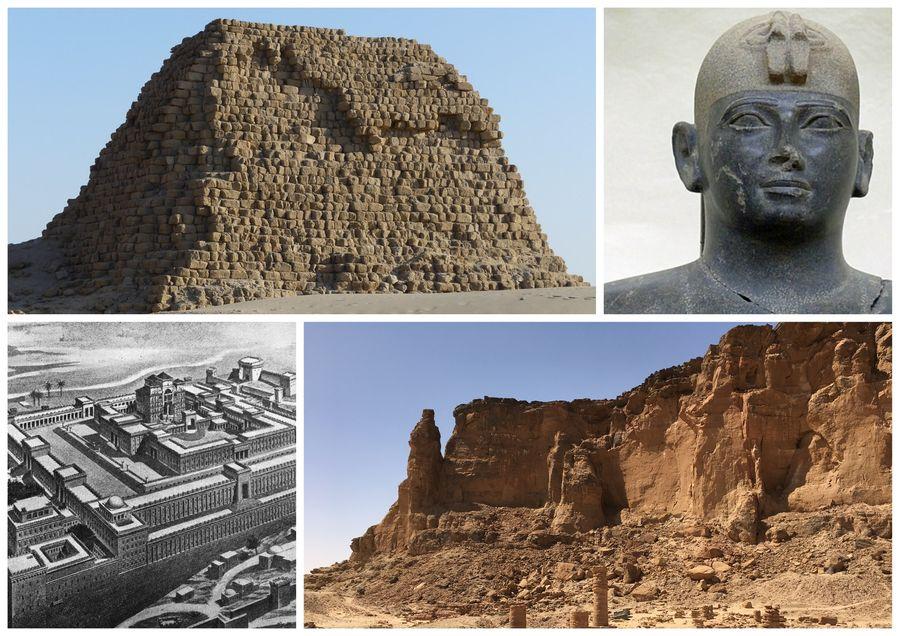 Taharka - vlevo jeho pyramida, dole Šalamounův chrám a Gebel Barkal
