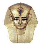 Pohřební maska Amenemopa (zlatá fólie, bronz a polodrahokamy; výška 30 cm)