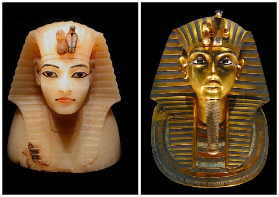 Obličej na kanopách v Tutanchamonově hrobce a obličej Tutanchamona v masce