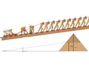 Přístupová rampa sloužící k přepravě kamenných kvádrů. V této fázi byla cca 900m dlouhá pod úhlem maximálně 9°