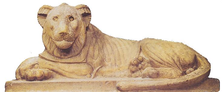 Vápencová socha lva