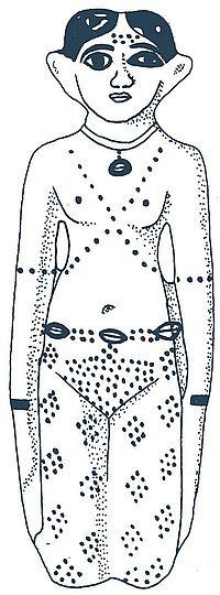 """Fajánsová """"společnice zemřelého"""" z doby okolo 1800 př. n. l., výška 13,3 cm, nalezena v oblasti Théb, Egyptské muzeum v Berlíně, inv. č. 9583, kresba B. Vachala"""