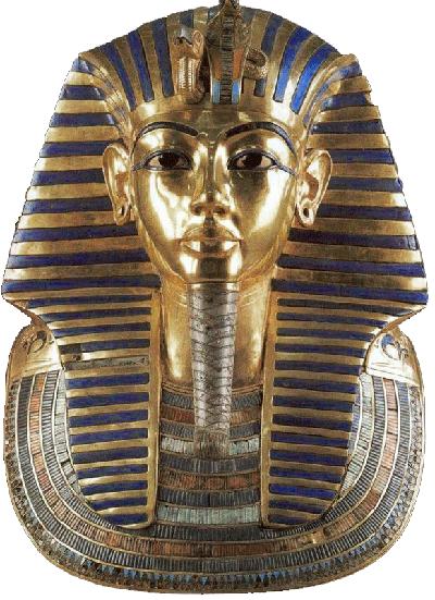 Pohřební maska Tutanchamona, která byla v průběhu pohřbu Tutanchamona použita